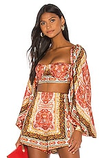 Bronx and Banco Runway Bedouin Flame Bralette in Red & Multicolor