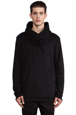 Funnel Drawstring Pullover in Black