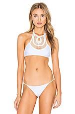 Crochet Halter Bikini Top in White