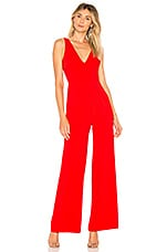 by the way. Carmela Deep V Wide Leg Backless Jumpsuit in Red