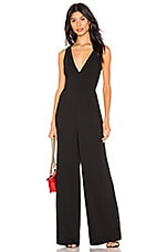 by the way. Carmela Deep V Wide Leg Backless Jumpsuit in Black