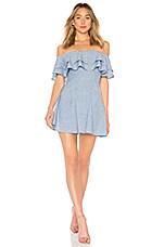 superdown Briget Ruffle Dress in Blue Stripe