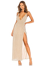 superdown Hailee High Slit Maxi Dress in Champagne