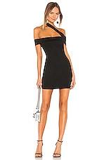superdown Linda Asymmetric Bodycon Dress in Black