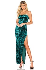by the way. Faith Crushed Velvet Strapless Gown in Green