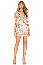 superdown Jessa Deep V Mini Dress in Rose Gold