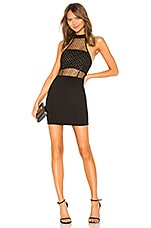 superdown Arin Mesh Mini Dress in Black & Gold