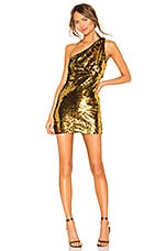 superdown Belle One Shoulder Mini Dress in Gold & Black
