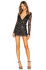 superdown Nia Sequin Fringe Dress in Black