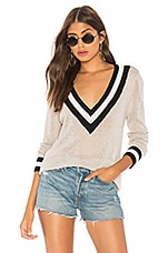 superdown Bobbie V Neck Sweater in Light Grey Multi