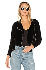superdown Malaya Velvet Moto Jacket in Black