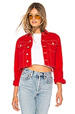 by the way. Ronnie Contrast Stitching Denim Jacket in Red