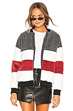 superdown Ash Stripped Panel Faux Fur Bomber in Multi Color