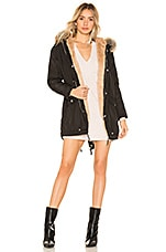 superdown Posh Faux Fur Parka in Black