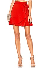 superdown Patricia Ruffle Wrap Skirt in Red