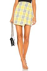 by the way. Cher Wrap Skirt in Yellow Plaid
