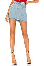 superdown Heather Step Hem Denim Skirt in Mid Blue Wash
