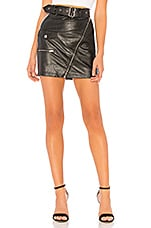 superdown Addy Faux Leather Moto Skirt in Black