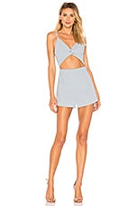 superdown Nancy Front Knot Cami Romper in Light Blue