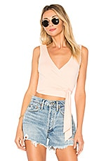 superdown Mina Rib Wrap Top in Peach