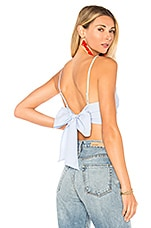 superdown Morgon Tie Back Crop Top in Baby Blue