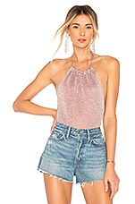 superdown Samantha Metallic Knit Bodysuit in Baby Pink