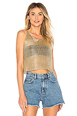 superdown Savannah Metallic Knit Cami in Gold