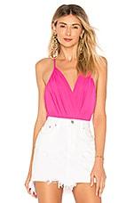 superdown Rikki Chiffon Bodysuit in Hot Pink