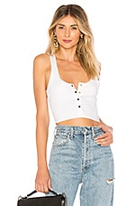 superdown Toni Snap Front Crop Top in White