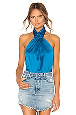 superdown Amerie Pleated Halter Top in Blue