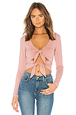 superdown Britney Double Bow Long Sleeve Top in Mauve