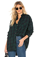 superdown Audriana Oversized Flannel Top in Green