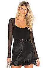 superdown Nathalie Mesh Sleeve Bodysuit in Black
