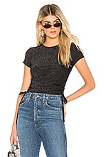 by the way. Jeanine Ruched Tie Top in Black Sparkle