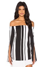 Veritgo Cape Stripe Top en Noir & Blanc