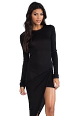 Abril Asymmetric Hem Dress in Black
