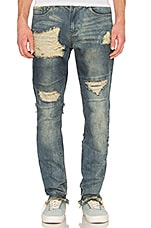 Distressed Stonewashed Jean in Washed Blue