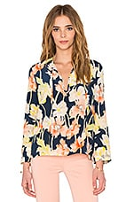 Tie Neck Blouse en Large Floral