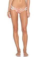 Braided Side Bikini Bottom in Orange & White