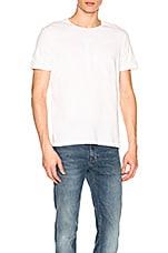 Calvin Klein Flocked Logo Crew Tee in White