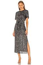 C/MEO Lustre Midi Dress in Black Sequin
