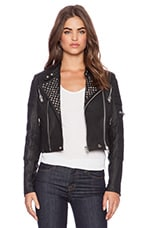 Studded Racing Moto Jacket in Black