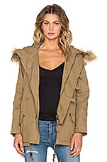 Faux Fur Hooded Parka en Olive