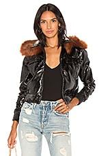 Capulet Flight Patent Leather Jacket in Black & Rust Vegan Fur