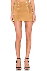 Capulet Genuine Suede Button Mini Skirt in Tobacco