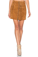A Line Zip Skirt in Cognac