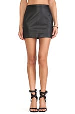 High Waist Mini Skirt in Black Croc Skin