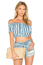 Elisa Crop Top in Blue Stripe