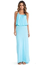 C&C California Ruffle Tank Maxi Dress in Scuba Blue