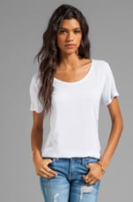 Woven/Knit Mix Short Sleeve Shirt Tail Top in White